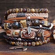 Украшения handmade. Livemaster - original item Leather bracelet with BOHO bronzite