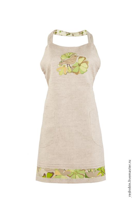 """Кухня ручной работы. Ярмарка Мастеров - ручная работа. Купить Фартук """"Птички"""" (зелёный). Handmade. Стильный фартук, оливковый"""