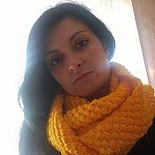 Аксессуары ручной работы. Ярмарка Мастеров - ручная работа Яркий желтый шарф-снуд. Handmade.