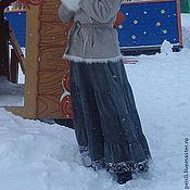 Одежда ручной работы. Ярмарка Мастеров - ручная работа Юбка длинная вельветовая серая с каймой. Handmade.