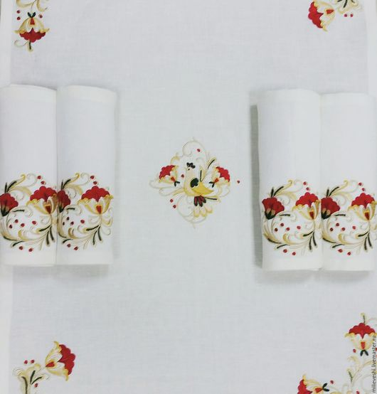 Текстиль, ковры ручной работы. Ярмарка Мастеров - ручная работа. Купить Скатерть и салфетки Белая хохлома. Чайный комплект. Handmade.