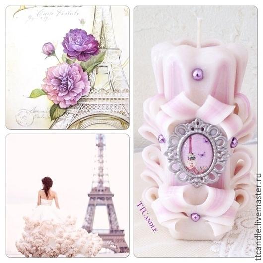 Элементы интерьера ручной работы. Ярмарка Мастеров - ручная работа. Купить Wishing Paris. Handmade. Сиреневый, розовый, резная свеча