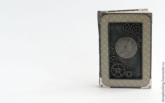 """Блокноты ручной работы. Ярмарка Мастеров - ручная работа. Купить Блокнот """"Часы"""". Handmade. Серый, скрап блокнот, подарок мужчине"""