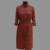 """Одежда ручной работы. Ярмарка Мастеров - ручная работа Модель 11-39 платье-рубашка модель 11-39 из ткани """"шотландка"""". Handmade."""