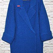 Одежда ручной работы. Ярмарка Мастеров - ручная работа Пальто вязанное шерстяное Синяя птица. Handmade.