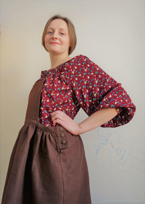 Dresses handmade. Livemaster - handmade. Buy Sundress with blouse 'Dunyasha'.Brown, linen sundress