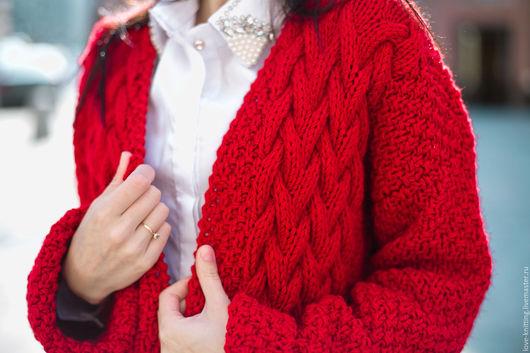 Кофты и свитера ручной работы. Ярмарка Мастеров - ручная работа. Купить Схема вязания кардигана с узором косы. Handmade.