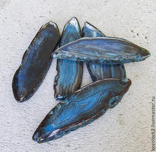 Для украшений ручной работы. Ярмарка Мастеров - ручная работа. Купить Синие крупные плоские бусины тонированного агата. Handmade.