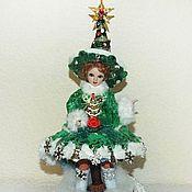 Куклы и игрушки handmade. Livemaster - original item Christmas tree on a stump-box - porcelain doll. Handmade.