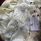 Палантины ручной работы. Ярмарка Мастеров - ручная работа Палантин шарф Полынь шелк батик оливковый серый желтый зеленый. Handmade.