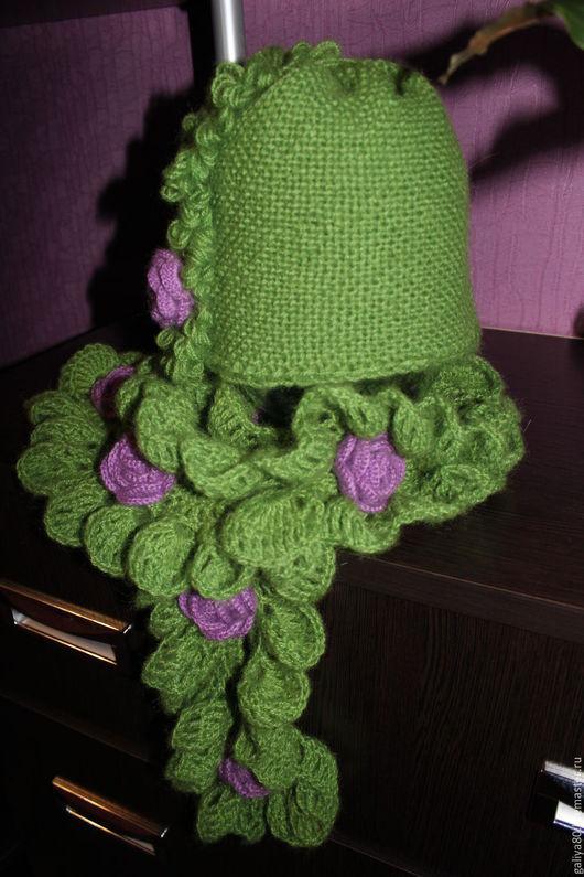 Шапки ручной работы. Ярмарка Мастеров - ручная работа. Купить шапка и шарф. Handmade. Зеленый, весна, красивый комплект