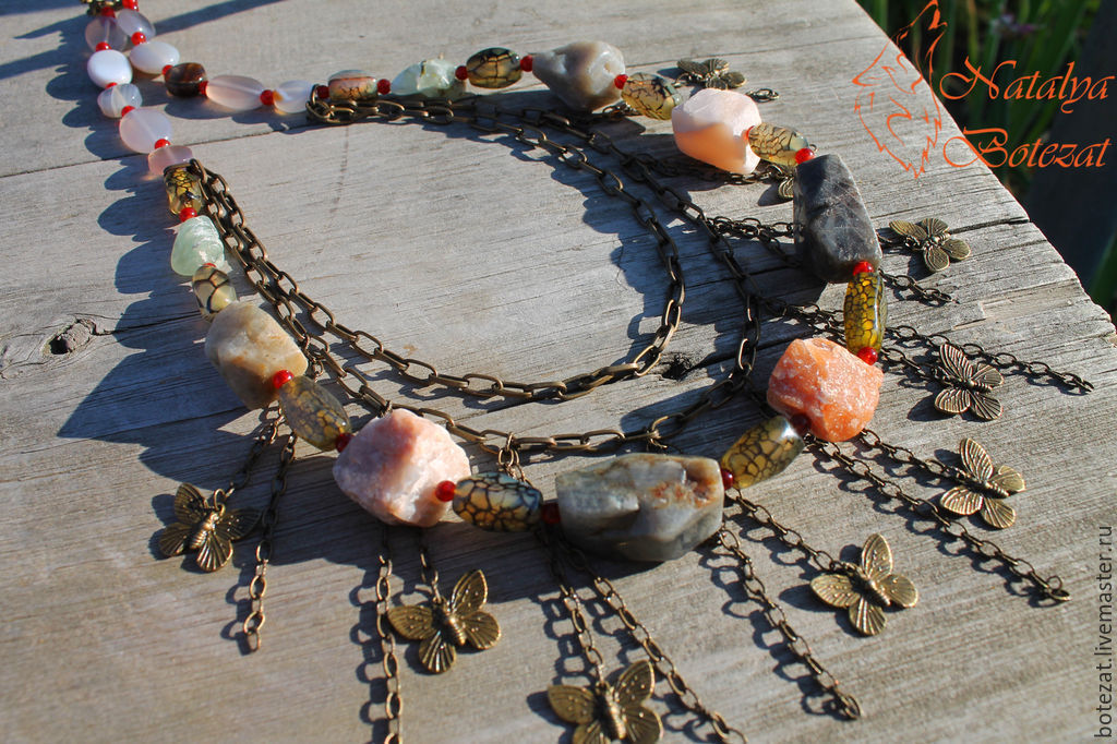 Wind energy necklace on a chain of rough stones shop for Wind chain online