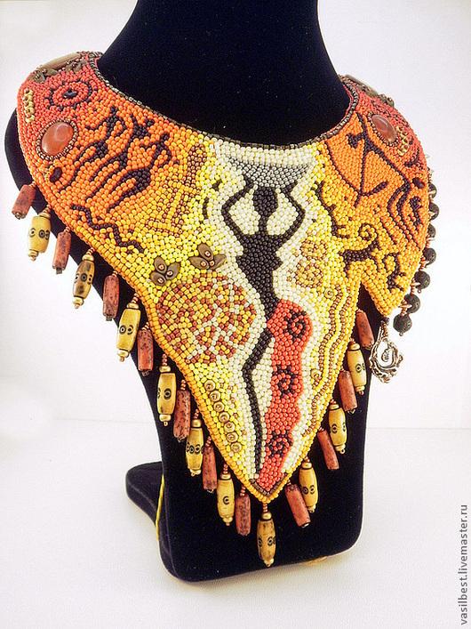 Колье, бусы ручной работы. Ярмарка Мастеров - ручная работа. Купить Колье Африканочка. Handmade. Африканские мотивы, украшение на шею