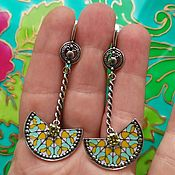 handmade. Livemaster - original item A 393# Earrings silvering with cold enamel, blackening, casting, Russia.. Handmade.