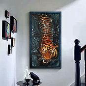 Картины и панно handmade. Livemaster - original item Tiger, oil painting, 50h100 cm (red, brown, blue. Handmade.