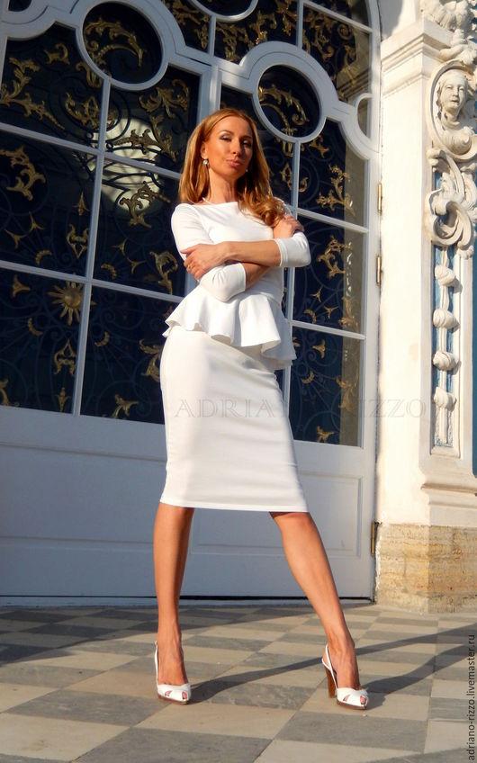 """Платья ручной работы. Ярмарка Мастеров - ручная работа. Купить Платье """"Анжелика"""" с баской - длина Миди. Handmade. Платье"""