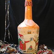 Подарки к праздникам ручной работы. Ярмарка Мастеров - ручная работа Бутылка новогодняя под домашнее вино или наливку. Handmade.