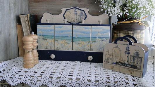 """Кухня ручной работы. Ярмарка Мастеров - ручная работа. Купить Набор для кухни """"Берег моря"""". Handmade. Синий, полка из дерева"""