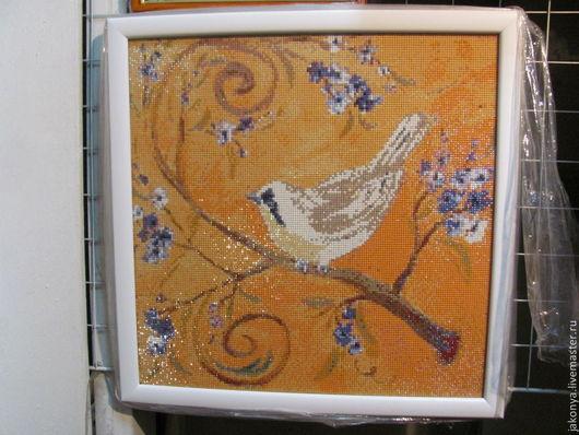 """Животные ручной работы. Ярмарка Мастеров - ручная работа. Купить Алмазная мозаика """"Птичка"""". Handmade. Оранжевый, алмазная вышивка"""