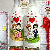 """Украшение на свадебные бутылки """"Love is"""""""