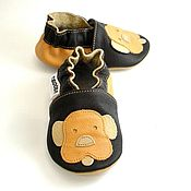 Работы для детей, handmade. Livemaster - original item Doggy Baby Moccasins, Baby Shoes Leather, Soft sole baby shoes. Handmade.