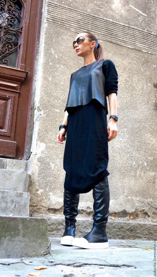 ботфорты сапоги из кожи черные сапоги женские сапоги из натуральной кожи стильны сапоги