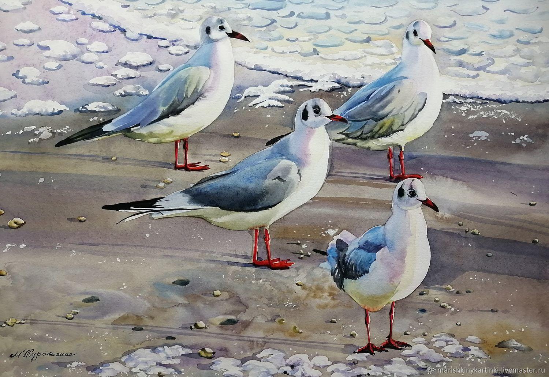 Акварель Морские чайки на рассвете!, Картины, Шуя,  Фото №1