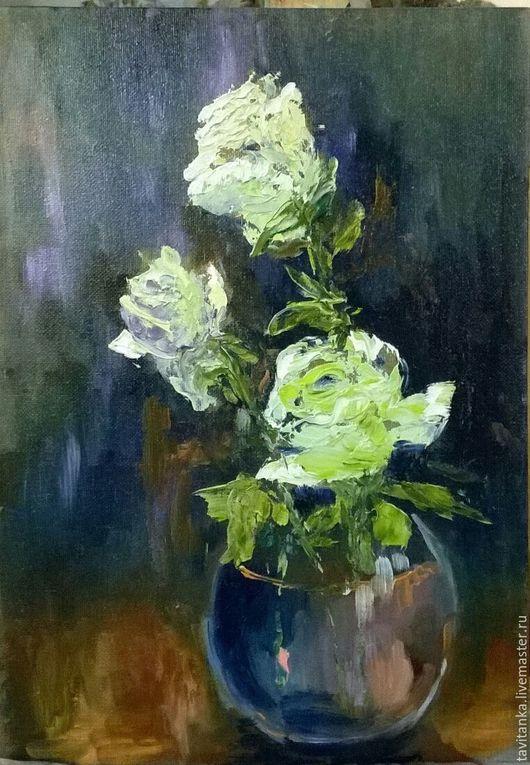 Картины цветов ручной работы. Ярмарка Мастеров - ручная работа. Купить Белые розы. Handmade. Комбинированный, картина маслом