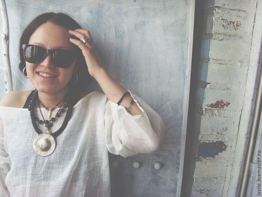 Блузки ручной работы. Ярмарка Мастеров - ручная работа. Купить белая рубаха Ханна. Handmade. Белый, лен