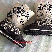 """Обувь ручной работы. Ярмарка Мастеров - ручная работа Валенки """"Чёрное, белое """". Handmade."""