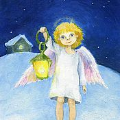 Картины и панно handmade. Livemaster - original item Angel with a flashlight Postcard or picture Reproduction. Handmade.