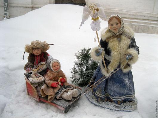 Коллекционные куклы ручной работы. Ярмарка Мастеров - ручная работа. Купить Композиция СВЯТКИ. Handmade. Белый, церковь, винтажный стиль
