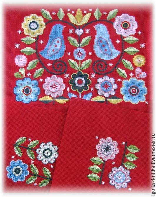"""Картины цветов ручной работы. Ярмарка Мастеров - ручная работа. Купить """"Цветы и птицы"""" - русская вышивка крестом. Handmade. Вышивка"""