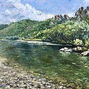 Картины и панно handmade. Livemaster - original item Oil painting Landscape River and mountains. impressionism. Handmade.