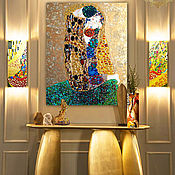 Картины и панно handmade. Livemaster - original item Painting of the semi-precious stones Gustav Klimt The Kiss. Handmade.