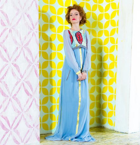 Платья ручной работы. Ярмарка Мастеров - ручная работа. Купить Нежное шелковое платье. Handmade. Голубой, платье вечернее