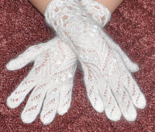 Варежки, митенки, перчатки ручной работы. Ярмарка Мастеров - ручная работа. Купить Пуховые перчатки, ручная работа, однотонные РПТ. Handmade.