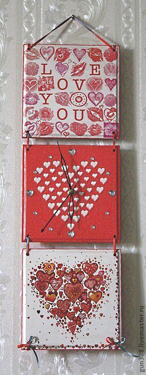 """Часы для дома ручной работы. Ярмарка Мастеров - ручная работа. Купить Часы-панно настенные """"I love you"""" (Люблю тебя). Handmade."""