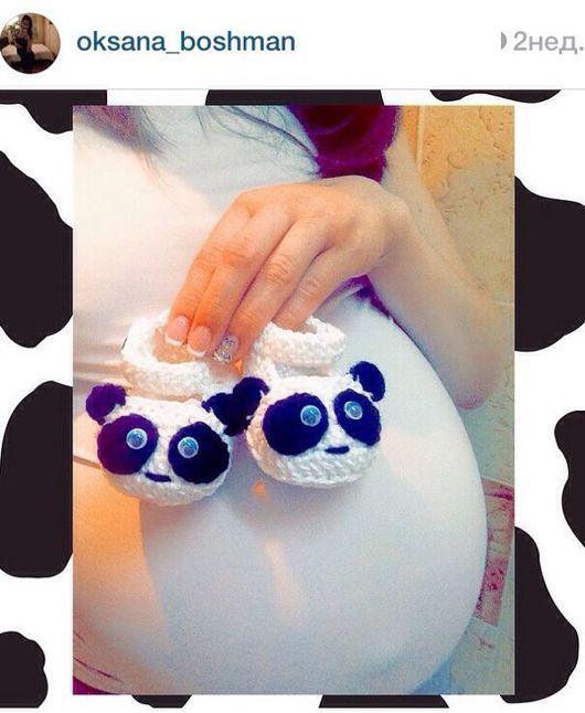"""Для новорожденных, ручной работы. Ярмарка Мастеров - ручная работа. Купить Летние пинетки """"Панды"""". Handmade. Белый, панда"""