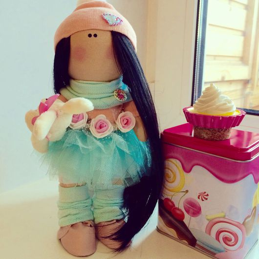 Портретные куклы ручной работы. Ярмарка Мастеров - ручная работа. Купить Шикарная брюнетка ищет дом. Handmade. Бледно-розовый