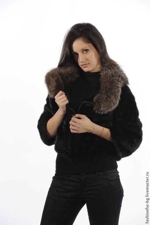 Верхняя одежда ручной работы. Ярмарка Мастеров - ручная работа. Купить норковая шубка-курточка с чернобуркой. Handmade. Черный