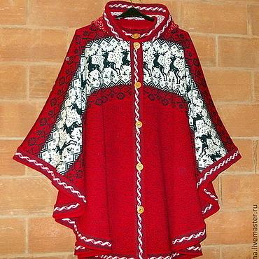 Одежда ручной работы. Ярмарка Мастеров - ручная работа Пончо вязаное с капюшоном натуральная шерсть ручная работа. Handmade.