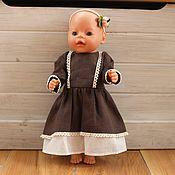 Куклы и игрушки handmade. Livemaster - original item Clothes for dolls, brown dress for dolls made of natural linen. Handmade.