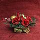 Букеты ручной работы. Заказать Новогодняя композиция с красными розами. Кудрявцева Елена (rozalinda53). Ярмарка Мастеров. Новогодние подарки