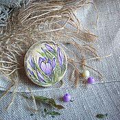 Украшения handmade. Livemaster - original item Spring crocuses Wooden brooch. Painting.. Handmade.