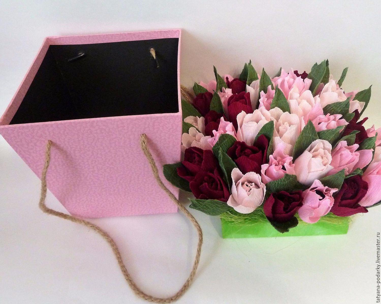 Букет из живых цветов в коробке своими руками 85