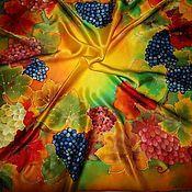 """Аксессуары ручной работы. Ярмарка Мастеров - ручная работа Платок батик """"Солнечный виноград"""". Handmade."""