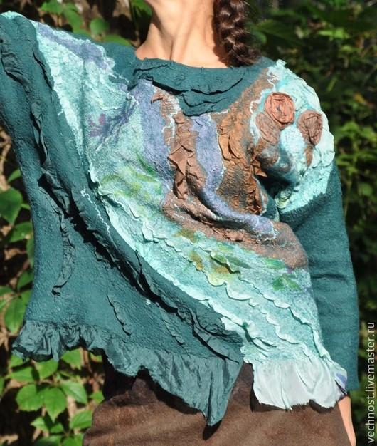 """Блузки ручной работы. Ярмарка Мастеров - ручная работа. Купить Блуза из серии """"Хвойный лес"""". Handmade. Морская волна, Валяние"""