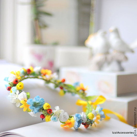 """Диадемы, обручи ручной работы. Ярмарка Мастеров - ручная работа. Купить Венок из цветов """"Солнечный день"""", для фотосессии, свадебный. Handmade."""