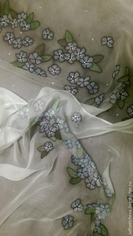 """Шарфы и шарфики ручной работы. Ярмарка Мастеров - ручная работа. Купить Шелковый шарф """"Ветка цветов"""". Handmade. Цветочный"""